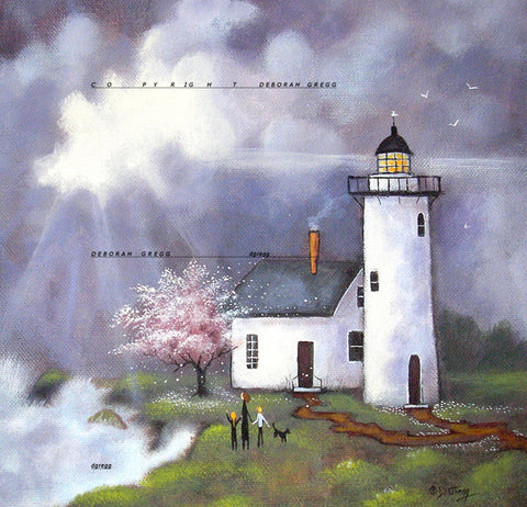 """Children Of The Light,"" a small Spring, Ocean waves, Lighthouse, Family Print by Deborah Gregg"