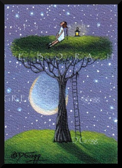 """Up Where The Air Is Clear,"" a Tiny Summer Tree Moon PRINT by Deborah Gregg"
