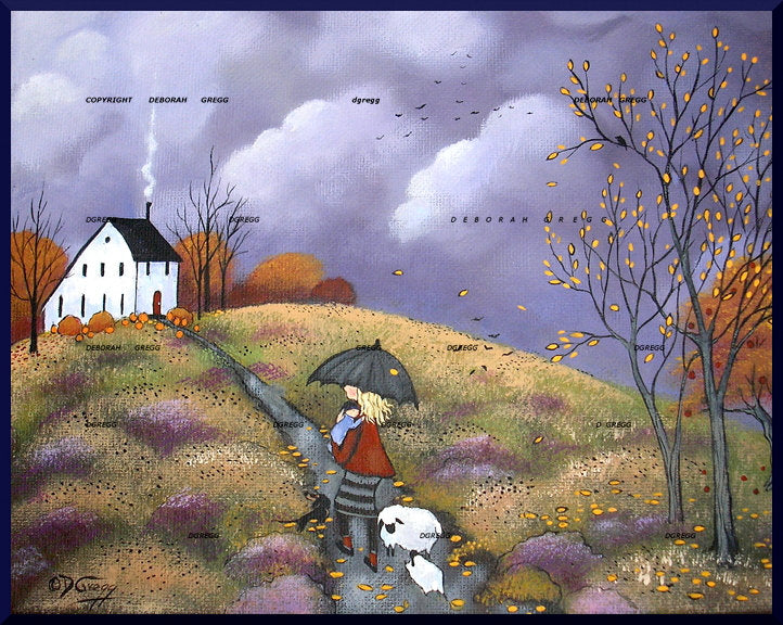 """Babies In The Autumn Rain,"" a Small Sheep Fall Leaves Saltbox Mother Folk Art PRINT by Deborah Gregg"