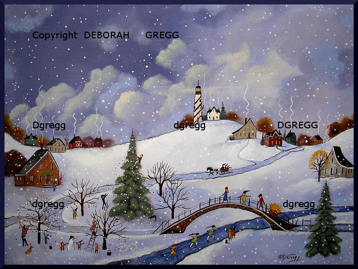 """For All Creatures Both Great and Small,"" a Small Winter Bridge Lighthouse Country PRINT by Deborah Gregg"