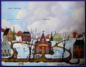 """A Baker's Heart,"" a Small Love Valentines Bakery Folk Art Village Snow Winter Print by Deborah Gregg"
