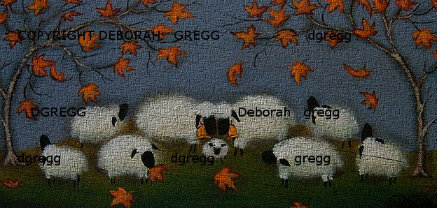 """Leaf Collectors,"" a small Puffy Sheep Autumn Leaves PRINT by Deborah Gregg"