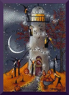 """Definitely Needs Some Work,"" a tiny Lighthouse Witches Decorate For Halloween PRINT by Deborah Gregg"
