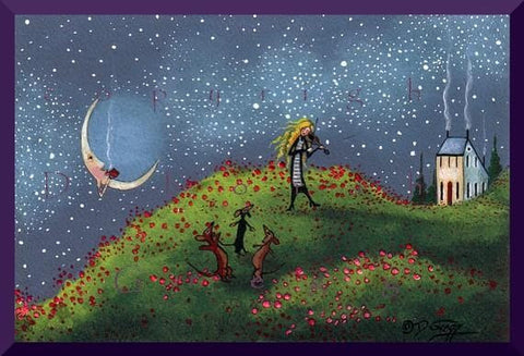 """A Hill Top Song For Spring,"" a Small Dachshund Violin Poppies Saltbox PRINT by Deborah Gregg"