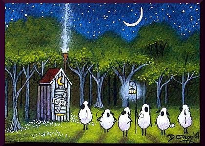 """Consequences,"" a tiny Sheep Folk Art Outhouse PRINT by Deborah Gregg"