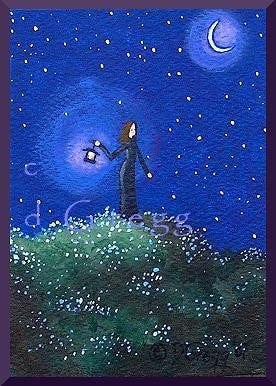 """A Guiding Light,"" An ACEO Love Hope Spring Night PRINT By Deborah Gregg"