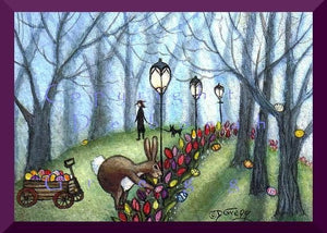 """Easter Morning In the Park,"" A Tiny Rabbit Easter Egg PRINT by Deborah Gregg"