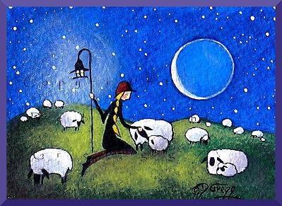 """I Am Here For You,"" a Tiny Sheep Shepherdess Love PRINT by Deborah Gregg"