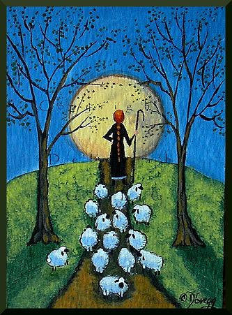 """Road Block,"" a Tiny Sheep Full Moon Shepherdess PRINT by Deborah Gregg"