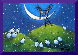 """March Hares Dance on the Crescent Moon,"" a tiny springtime rabbits moon dancing aceo PRINT by Deborah Gregg"