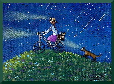 """Going Green,"" an aceo Summer Bike Riding PRINT by Deborah Gregg"