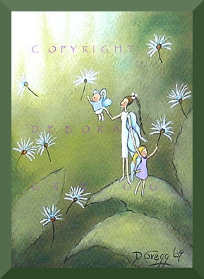 """Not Just Yet,"" a tiny Mother Daughter fairies Aceo PRINT by Deborah Gregg"