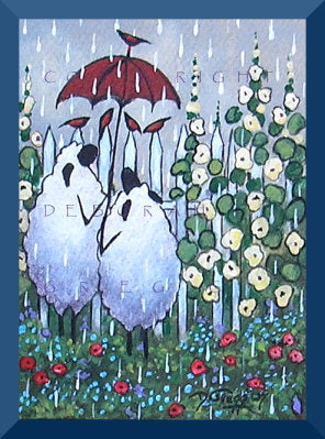 """A Conversation In The Rain,"" an ACEO Sheep Flower Garden Red Umbrella PRINT by Deborah Gregg"