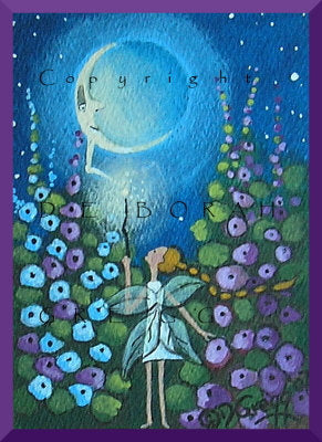 """Moon Power,"" a Tine ACEO Fairy Garden PRINT by Deborah Gregg"