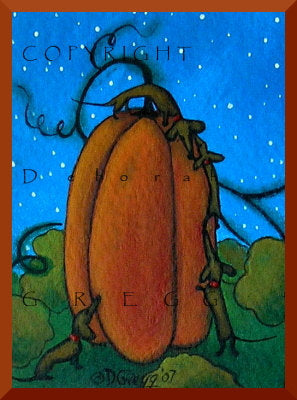 """The Giant Pumpkin,"" an Aceo Dachshund PRINT from the original by Deborah Gregg"