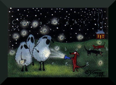 """Um...I Think I Found Something...""  A Tiny aceo Dachshund Art Sheep Fireflies Summer Folk Art Starry Night PRINT by Deborah Gregg"