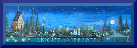 """A Cricket Serenade,"" a small Summer Night Garden Family Fireflies PRINT by Deborah Gregg"