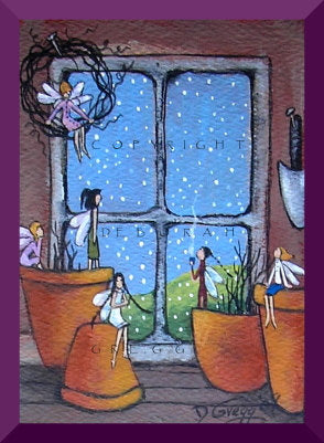 """In The Warmth of the Garden Shed,"" an aceo Fairy Snow PRINT By Deborah Gregg"