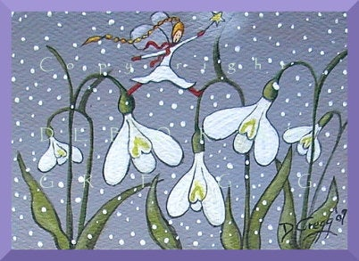 """Snowdrops In The Snow,"" an aceo Snow Fairy Garden Flower PRINT by Deborah Gregg"