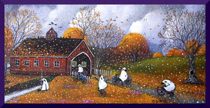 """One Last Bike Ride Before The Snows Fall,"" a Small Sheep Autumn Covered Bridge PRINT by Deborah Gregg"