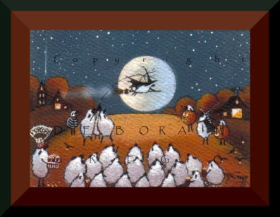 """The Annual Halloween Play,"" a tiny Sheep Halloween PRINT by Deborah Gregg"