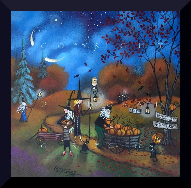 """Late Night Pumpkin Sales,"" a Small Halloween Witch Autumn PRINT by Deborah Gregg"