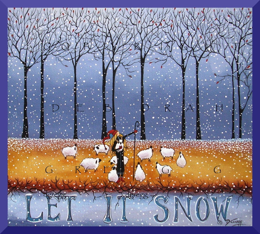 """Let It Snow,"" a Winter Sheep Snow Forest Shepherdess Quote PRINT by Deborah Gregg"