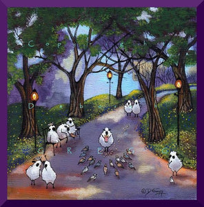 """Hand Over The Popcorn If You Want To Live,"" a Small Sheep Pigeons City Park PRINT by Deborah Gregg"