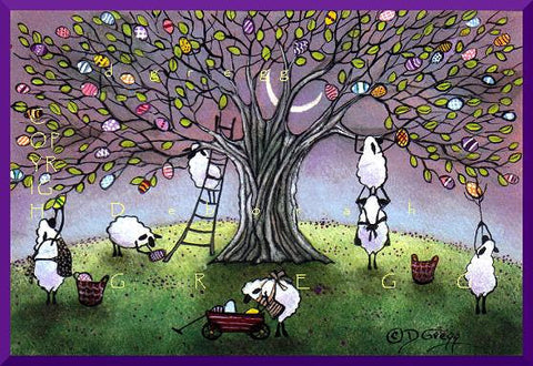 """Early Morning Easter Egg Harvest,"" a Small Sheep Easter Egg Tree Moon PRINT by Deborah Gregg"