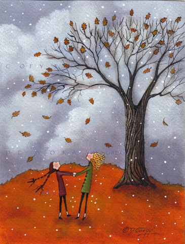 """Sisters,"" a Fall Leaves Autumn Oak Tree Snow Small PRINT by Deborah Gregg"