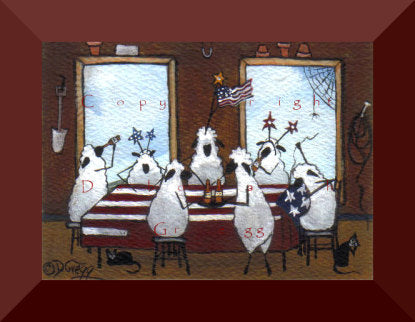 """A Patriotic Contribution,"" a TIny Sheep American Flag Barn Seamstress PRINT by Deborah Gregg"