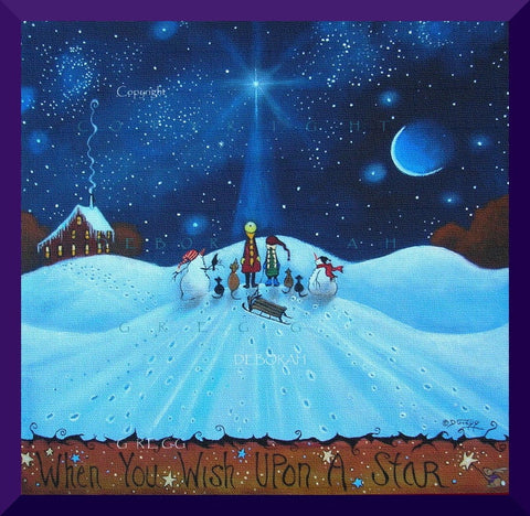 """When You Wish Upon A Star,"" a Winter Snowhill Sledding Crow Cat Dog PRINT by Deborah Gregg"