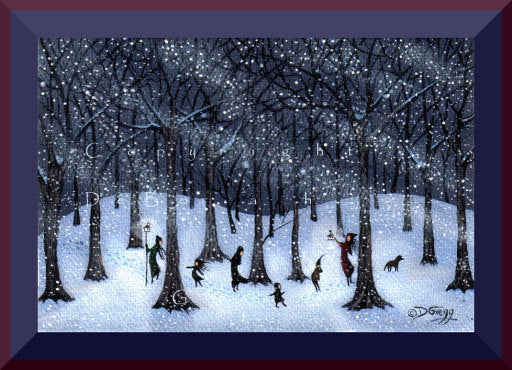 """Just Stay Together,"" a tiny Winter Snow Storm Woods Print by Deborah Gregg"