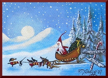 """A Difference Of Opinion,"" a tiny Dachshund Santa's Sleigh Christmas Holiday Print by Deborah Gregg"