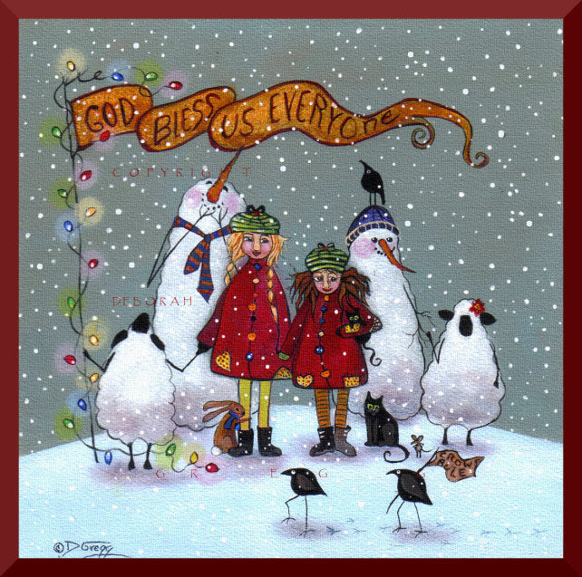 """God Bless Us Everyone,"" a Small Sheep Crow Cat Rabbit Christmas Print by Deborah Gregg"