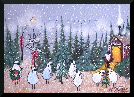 """Through The Eyes Of Love,"" a Tiny Sheep Christmas Tree Lot Snow PRINT by Deborah Gregg"
