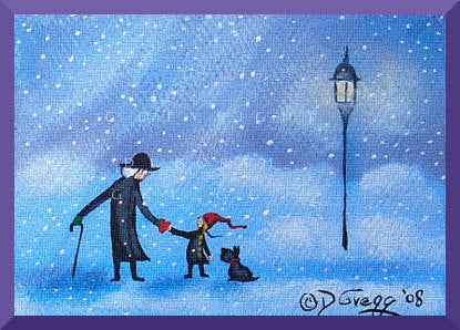 """A Valentine For You,"" a tiny Valentine Love Dog Snow Storm Print by Deborah Gregg"