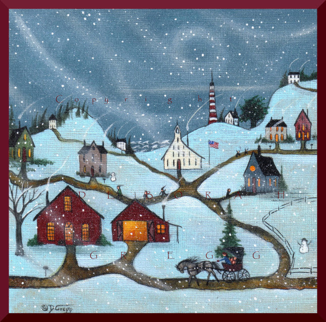 """Snow Day,"" a Small School House Snow Storm Lighthouse Coastal Village PRINT by Deborah Gregg"