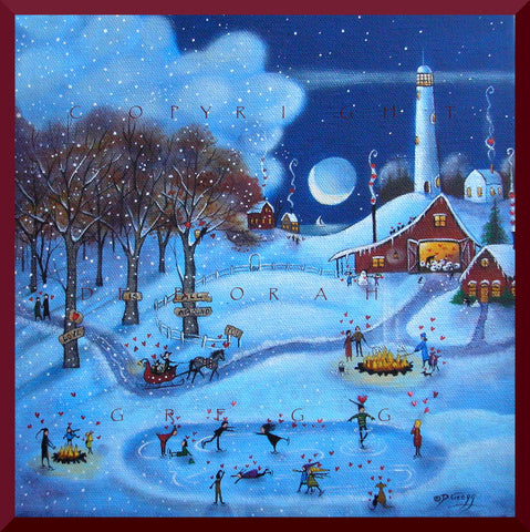 """Love Is All Around You,"" a Small Love Valentine Winter Snow Country Lighthouse PRINT by Deborah Gregg"