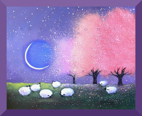 """Spring Glow"", a Sheep Apple Blossoms Crescent Moon Meadow PRINT by Deborah Gregg"