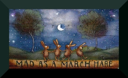 """Mad As A March Hare,"" a Tiny Rabbit March Moon PRINT by Deborah Gregg"