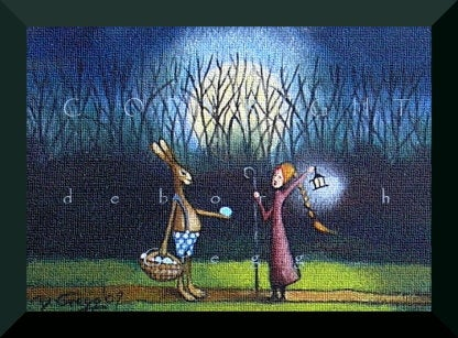 """Easter Eve Encounter,"" a tiny Easter Rabbit Eggs Moon Spring Print by Deborah Gregg"