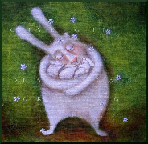 """Safe in Her Arms,"" a small Mother Rabbit Mom Bunnies Love Nursery Easter PRINT by Deborah Gregg"