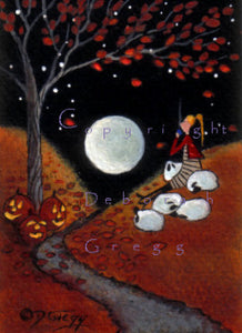 """Fall Leaves By Moonlight,"" a tiny PRINT Halloween Autumn Sheep Shepherdess Cocoa Moon by Deborah Gregg"