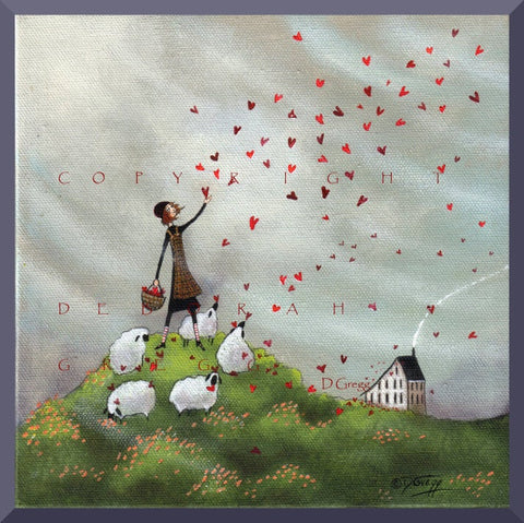 """Where She Goes Love Follows,"" a small Hearts Love Sheep Valentine Saltbox Print by Deborah Gregg"