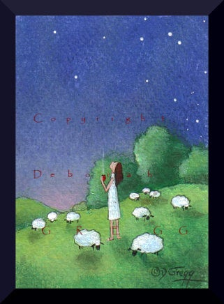 """The Cool Hours of Early Morning,"" a tiny Sheep Summer Stars Coffee Shepherdess PRINT by Deborah Gregg"