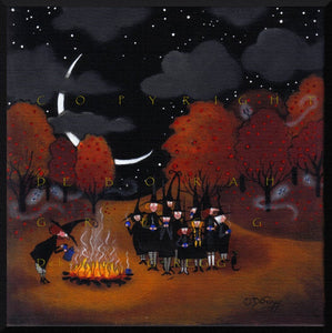 """Fright Night Clumping,"" a Small Halloween Witch Apple Orchard PRINT by Deborah Gregg"