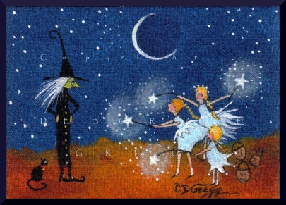 """The Power of Three,"" a Tiny Halloween Witch Fairy Trick or Treat PRINT by Deborah Gregg"