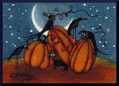 """Pumpkin Treasure,"" a tiny Dachshund Crow Pumpkin PRINT by Deborah Gregg"
