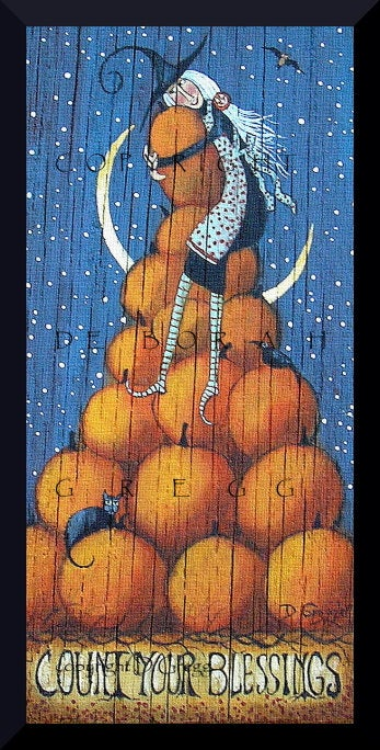 """Count Your Blessings,"" a Small Witch Pumpkin Halloween PRINT by Deborah Gregg"